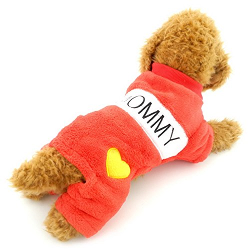 SELMAI Dog Pajamas Birthday Outfits I love Mom Dad Dog Jumpsuits Fleece Coat Winter Jacket Small Pet Warm Clothes Red (Cats In Outfits)