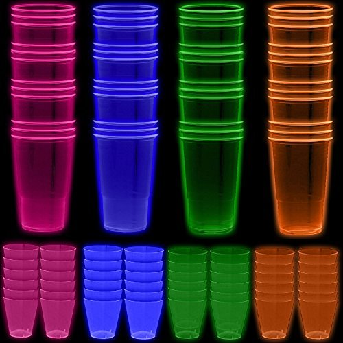 Neon Party Cups - 96 Pack - 48 Soft 18 OZ Beer Cups and 48 Hard plastic 1 OZ Shot Glasses - UV Reactive Blacklight Colors - Pink, Green, Blue, Orange - Birthdays, Clubs, 80s Festivals, Beer Pong, Etc. ()