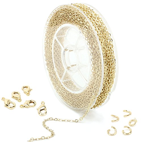 - 33 Feet Dainty Gold Plated Solid Brass Cable Chain Link Bulk for Jewelry Making (1.5mm) with Lobster Clasp and Jump Rings