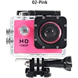 ZHUOTOP 1080P Waterproof Camera Universal Full HD Lot Car Cam Sports Action Camera Pink