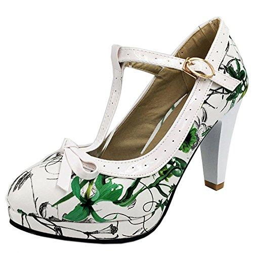 TAOFFEN Women Elegant High Heel Party Pumps T-Strap Solid Shoes Green Flower