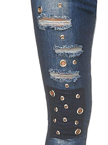 Oeillets Skinny Pantalon Femmes Bleu D2248 Extensible Jeans qHOcwg4