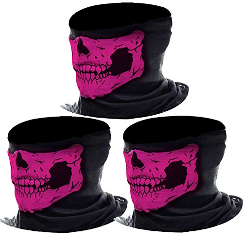 eBoot 3 Pack Seamless Skull Face Tube Mask Motorcycle Face Mask Outdoor Mask Sport Headwear (Pink)