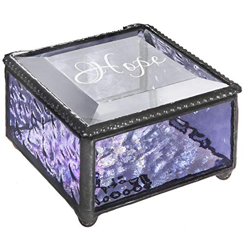Personalized Jewelry Box Inspirational Gift for Her Stained Glass Engraved Keepsake Mom, Daughter, Granddaughter, Girl, Friend J Devlin Box 899 EB247 (Purple) Baby Chain Jewelry Box