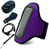 Purple Neoprene WaterResistant Complete Sports Workout Adjustable 11 to 19 inch Armband With Key Holder for HTC One V Android (4.0) Sense 4 UI Smart Phone + Includes a Rapid USB Travel Car Charger + Includes a Rapid USB Travel Home Wall Charger + Includes a USB Data Sync Cable for your device + Includes an eBigValue (TM) Determination Hand Strap Keychain