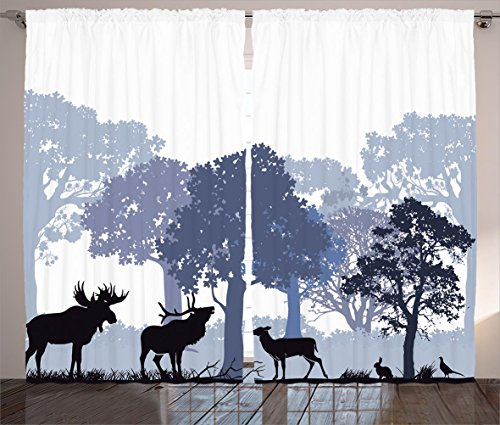 Moose Curtains 2 Panel Set by Ambesonne, Gray Forest Design Abstract Woods North American Wild Animals Deer Hare Elk Trees, Living Room Bedroom Decor, 108W X 84L Inches, Black White Grey