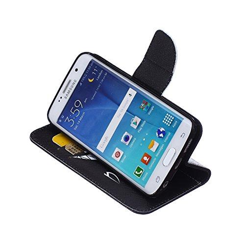 Funda Samsung S6 Edge, Samsung Galaxy S6 Edge Carcasa Funda Cuero [Pluma Libre] Samsung Galaxy S6 Edge Case Book Estilo Libro billetera con correa de cordón Magnético Folio Flip Caso pata de cabra tit Mueca