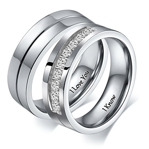 Aeici Jewelry Stainless Steel Macthing Couple Necklaces I Love You I Know Rings Band Circle Size 5 & 10 ()