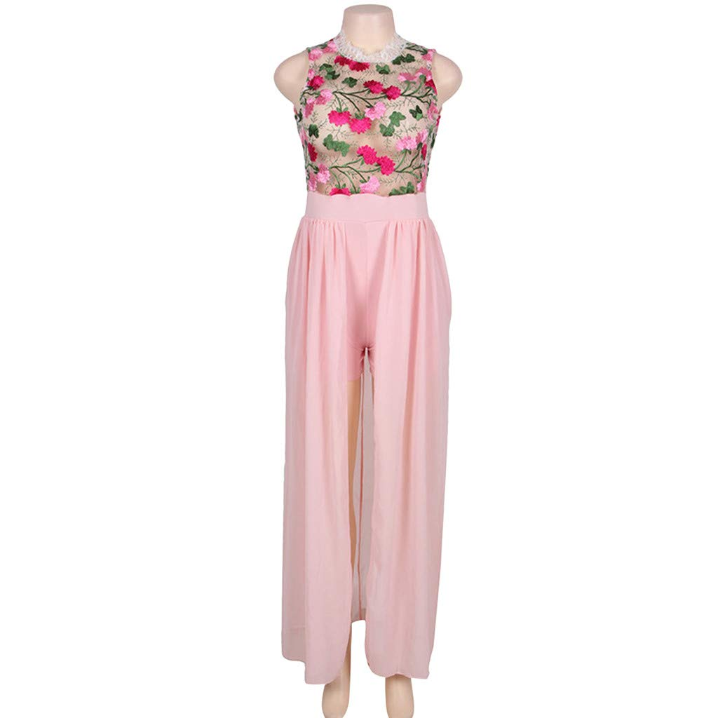 ❤️❤️ Women's Halter Neck Floral Print See Throught Split Beach Lace Romper Short Sleeve Party Maxi Dress Pink by Huitian23-Dress (Image #2)