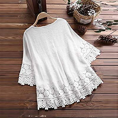 Meikosks Women's Lace Patchwork Blouses Plus Size T Shirt V-Neck 3/4 Sleeve Tops Loose Tee: Clothing
