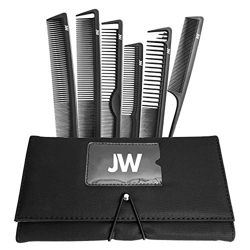 JW   Joewell 6 Piece Professional Salon Hair Cutting Carbon Comb Set with Case