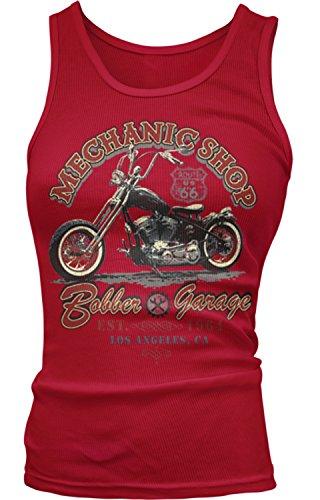 Amdesco Junior's Bobber Garage Mechanic Shop Motorcycles Tank Top, Red Medium (Beater Womens Tank Boy)
