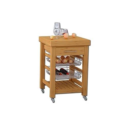 Carrello di servizio per cucina in legno con 1 cassetto e 2 cesti ...