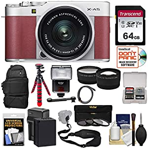 Fujifilm X-A5 Wi-Fi Digital Camera & 15-45mm XC Lens (Pink) with 64GB Card + Battery & Charger + Backpack + Tripod…
