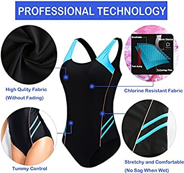 EBMORE Womens One Piece Swimsuit Bathing Suit Athletic Sport Training Exercise