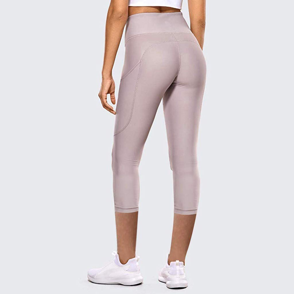 High Waist Tight Fitness Leggings Workout Elastic Quick Drying Sweatpants Rishine Yoga Pants with Pockets for Women