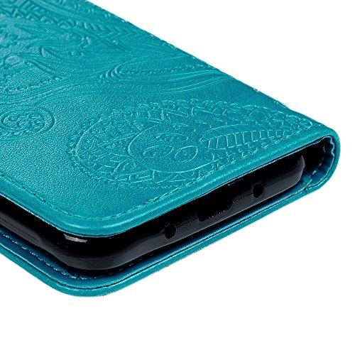 J3 Case, Galaxy J3 Case (2016 Version) - Wallet Case Folio Kickstand Case 3D Embossed Plants Premuim PU Leather Case Shockproof TPU Inner Bumper Slim Protective Cover for Galaxy J3 by Badalink - Blue