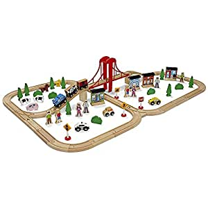 imaginarium express mega train world train set 80 pieces compatible with competitor wooden. Black Bedroom Furniture Sets. Home Design Ideas