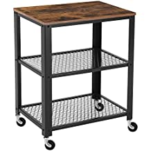 SONGMICS Vintage Serving Cart, 3-Tier Kitchen Utility Cart on Wheels with Storage for Living Room, Wood Look Accent Furniture with Metal Frame ULRC78X