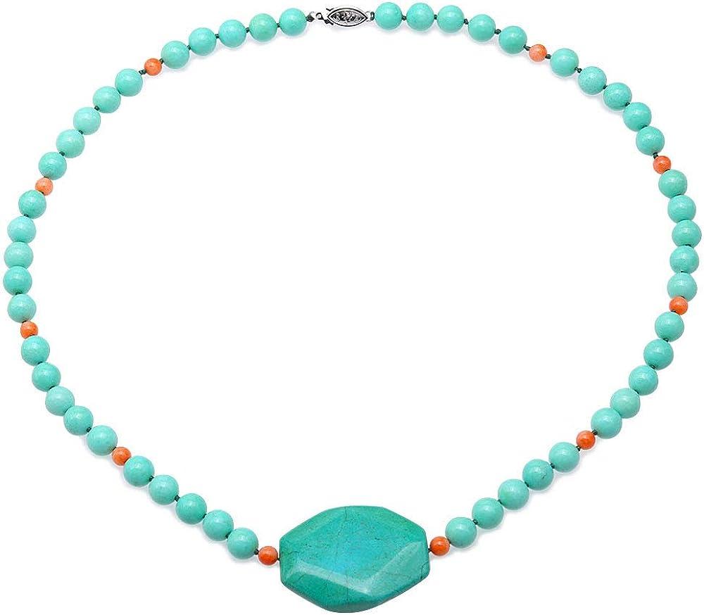JYX - Collar de Piedras Preciosas turquesas de 8,5 mm Hecho a Mano de una Sola hebra, Redondo, Color Verde Turquesa, Collar de Cuentas para Mujer, 55,88 cm