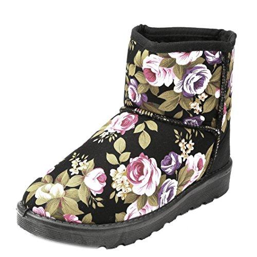 Botas Mujer,Ouneed ® Moda de las mujeres de tobillo flor impresa botas de piel forrada invierno otoño caliente nieve botas Negro