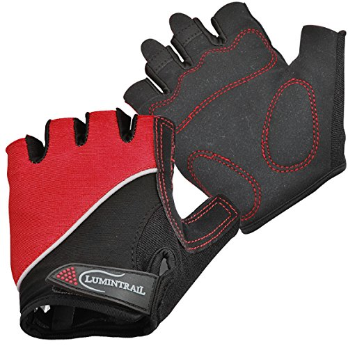 Lumintrail Shock Absorbing Half-Finger Riding Cycling Gloves Breathable Road Racing Bicycle Mens Womens (Red, ()
