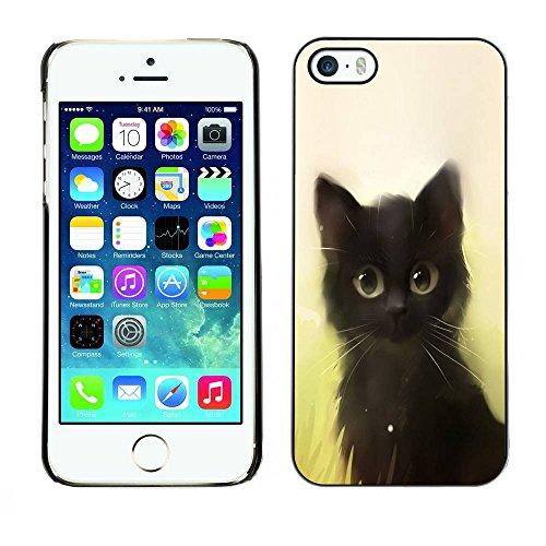 LASTONE PHONE CASE / Coque Housse Etui Shock-Absorption Bumper et Anti-Scratch Effacer Case Cover pour Apple Iphone 5 / 5S / Cute Painting Kitten Cat Black Pet Animal