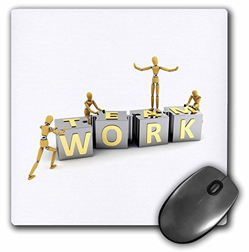 3dRose LLC 8 x 8 x 0.25 Inches Mouse Pad, Team Work Achievement Business Concept Success, Artist Figure Mannequins Wooden (mp_154970_1)