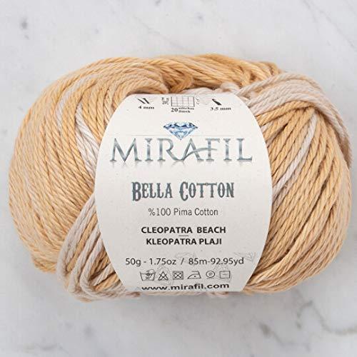 3 Pack Mirafil Bella Cotton, Variegated Colors, 100% Pima Cotton Yarn 50 g (1.76 oz) / 85 m (92 yd), Yarn Weight: 4 : Worsted-Aran (Cleopatra Beach)