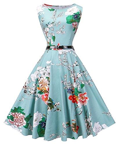 VOGVOG Women Boatneck Sleeveless Vintage Tea Cocktail Dress with Belt, Floral Light Green, Large