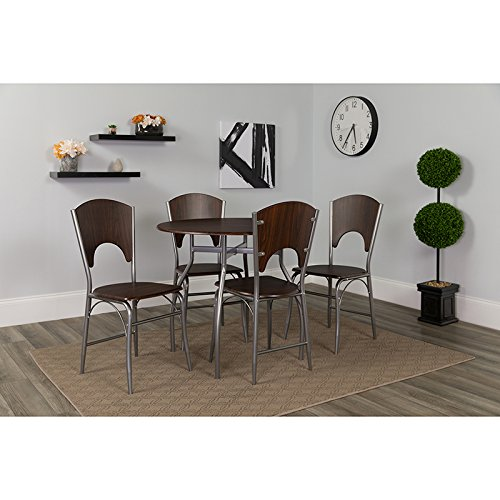 Dinettes Set Modern (Contemporary Modern Design 5 Piece Walnut Finish Dinette Set with Chairs)