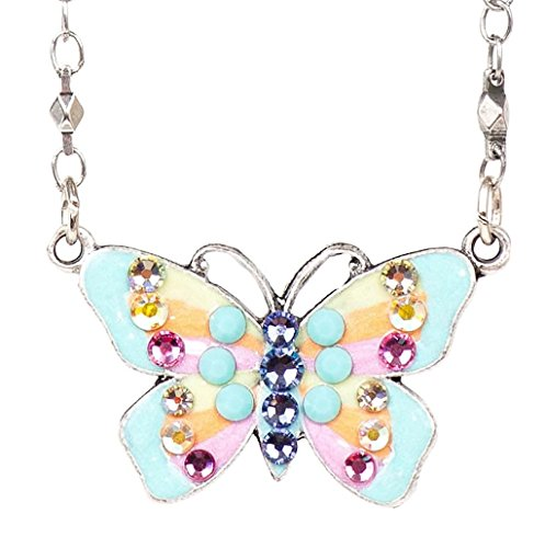 Anne Koplik Pastel Crystal & Enamel Butterfly Pendant Necklace ()