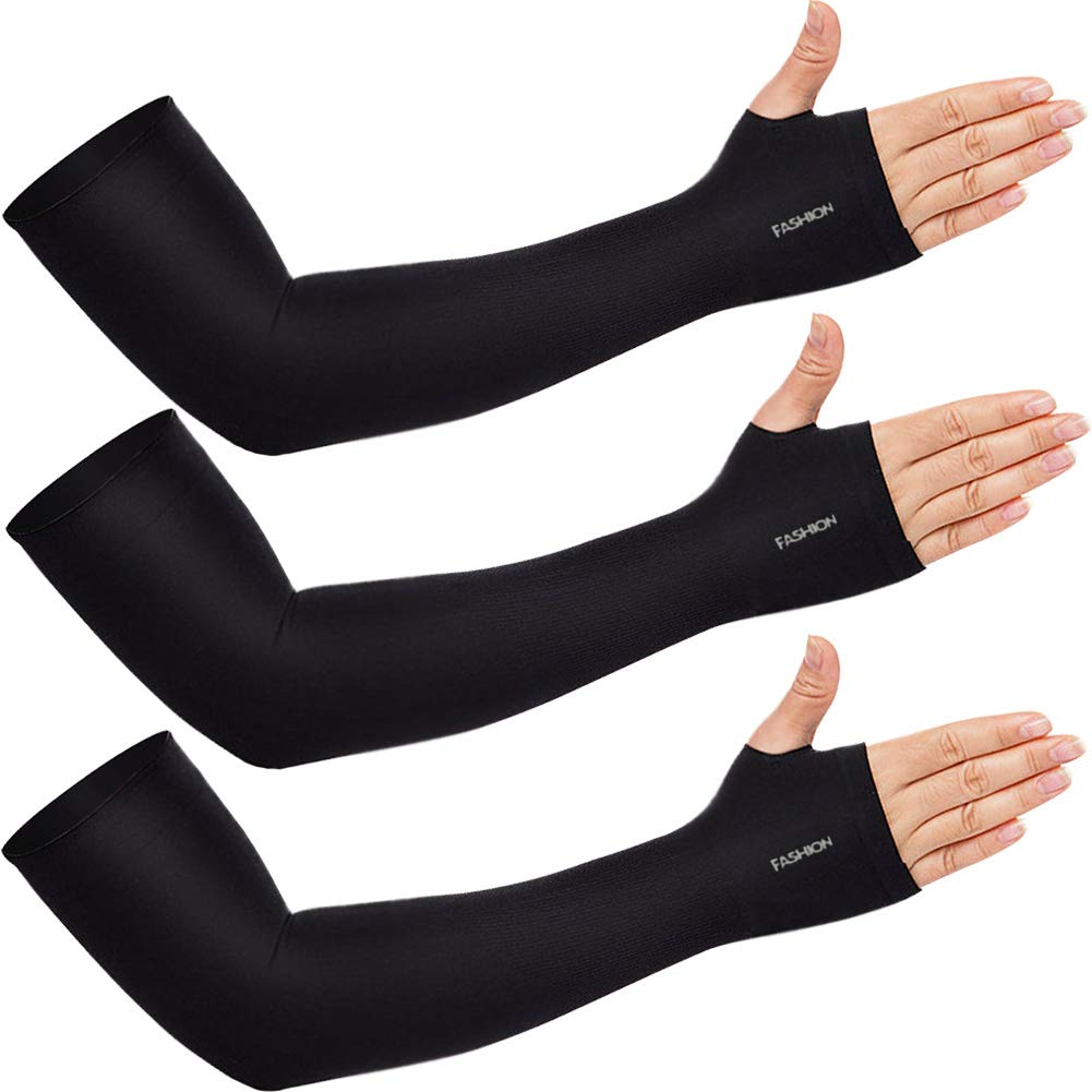Beister 3/6 Pairs Sun UV Protection Cooling Arm Sleeves for Women Men, Long Arm Cover for Cycling, Driving, Sports