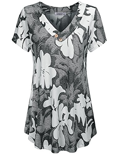 (MOQIVGI Summer Tops, Womens Cute Cross V Neck Fit Flare Hawaiian Shirt Pretty Short Sleeve A-line Swing Floral Tunic Lightweight Soft Office Wear Dressy Ladies Blouse Multicoloured Grey Large)