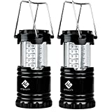 #5: Etekcity 2 Pack Portable Outdoor LED Camping Lantern with 6 AA Batteries (Black, Collapsible)