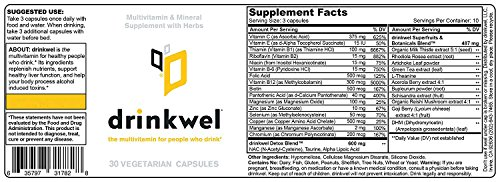Drinkwel for Hangovers, Nutrient Replenishment & Liver Support (30 Vegetarian Capsules with Organic Milk Thistle, N-acetyl Cysteine, Alpha Lipoic Acid, and DHM) (Travel Size Bottle) by drinkwel (Image #5)