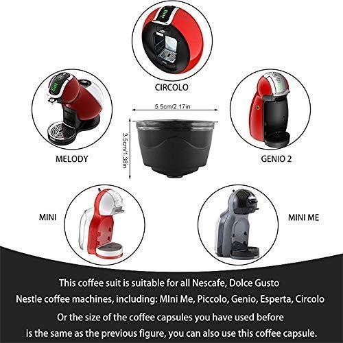 KOBWA 3 Pcs Filtros Cápsulas de Café Puede Rellenables Reutilizable para Cafetera Dolce Gusto con 1 Cucharón de Plástico y 1 Cepillo de Limpieza