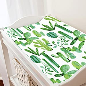 Carousel Designs Green Painted Cactus Changing Pad Cover – Organic 100% Cotton Change Pad Cover – Made in The USA