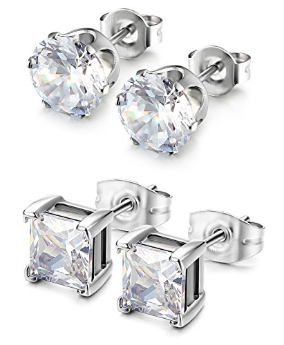 Besteel 2 Pairs Stainless Steel Mens Womens CZ Stud Earrings Pierced Earrings White 20G 3mm