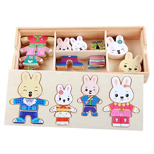 Rabbit Puzzle Toy Wooden Puzzle Rabbit Family Dress-Up Puzzle with Storage Case 72 Pieces Mix Match 4 Kinds Kids Dress Changing Educational Montessori Toys