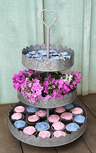 Rustic Galvanized 3-Tier Round Display Stand | Tiered Heart Cupcake Stand | Dessert Tower | Pretty, Romantic Details Perfect for Weddings |Statement Piece at 15'' Diameter and 23'' High by Autumn Alley (Image #1)