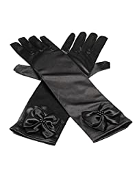 11.5 Inch Stretchy Satin Long Finger Bowknot Dress Glove for Girl, (Black)