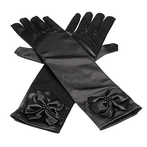 RUNHENG Kids Stretchy Satin Long Finger Dress Gloves, 11.4 Inch (Black)