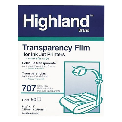 Clear transparency film for ink jet printers, 8 1/2 x 11, 50/box (MMM707) Category: Transparency ()