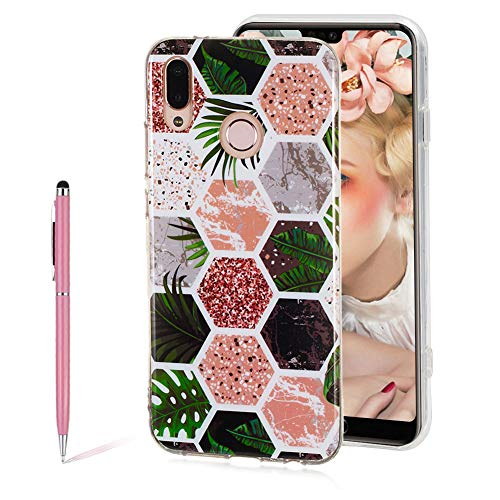 3D Shiny Printing Tropical Rainforest Mosaic Marble Painted Design Matte TPU Soft Silicone Case for Huawei P20 lite,SKYXD Unique Flexible Slim-Fit Ultra-Thin Anti-Scratch Shockproof Dustproof Cover