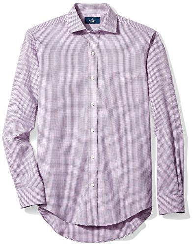 Buttoned Down Men's Slim Fit Spread-Collar Non-Iron Dress Shirt, Berry/Red/Navy Tatersol, 17.5'' Neck 37'' Sleeve by Buttoned Down (Image #7)