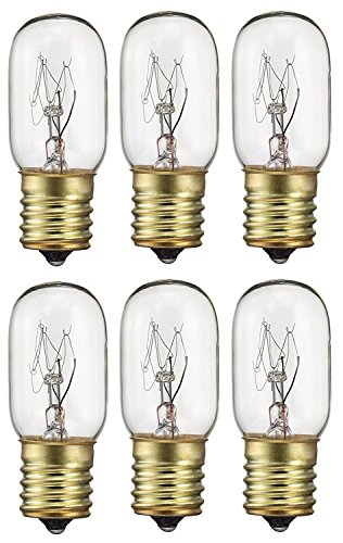 6 Pack 40 Watts Microwave Replacement Bulb for Ge and Whirlpool oven, 40T8 E17 Base Appliance Light Bulb MOL 2.5