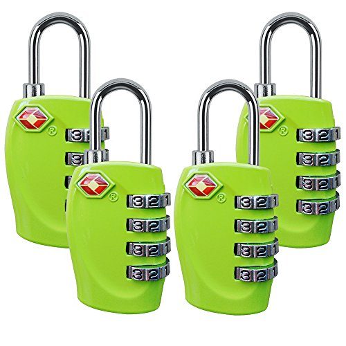 4 Dial Digit TSA Approved Travel Luggage Locks Combination for Suitcases (Green-4pack) by Yestelle