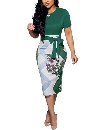 78684ddc3f93 Women's Short Sleeve Bodycon Dress - Cute Floral Bowknot Pencil Midi Dress  at Amazon Women's Clothing store: