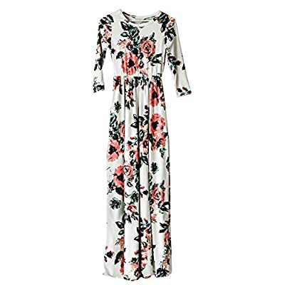 HOOYON Women's Casual Floral Printed Long Maxi Dress with Pockets(S-5XL)